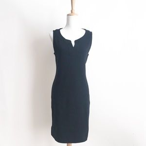 NWT Talbots Black Split Neck Shift Dress Medium